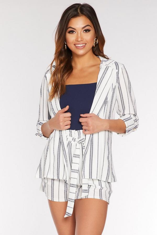 Navy and White Stripe 3/4 Sleeve Blazer