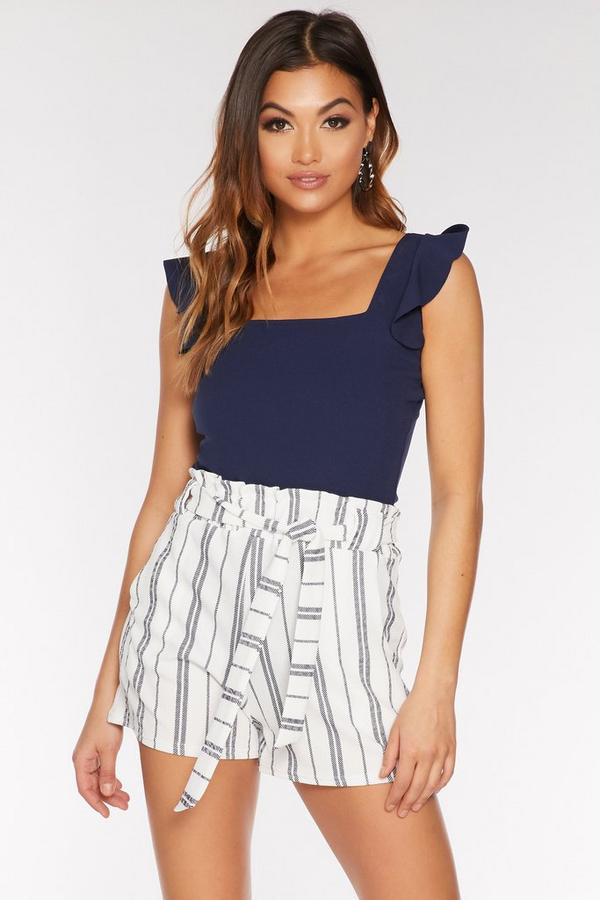 Navy and White Stripe Paper Bag Belted Shorts