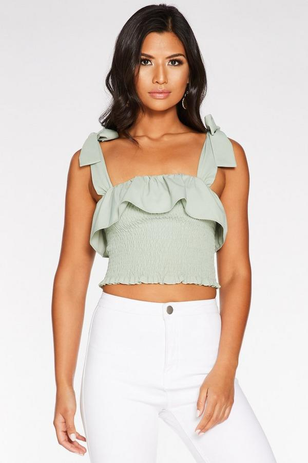 Sage Green Woven Shirred Frill Crop Top