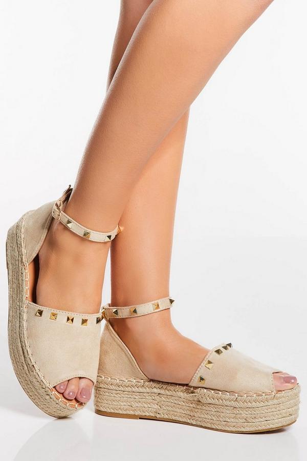 Cream Stud Peep Toe Flatforms