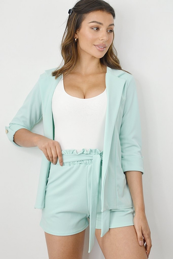 Mint Green 3/4 Sleeve Blazer