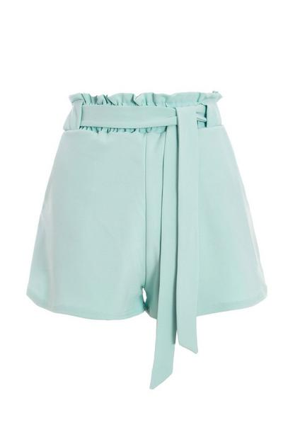 Mint Green Paper Bag Belted Shorts