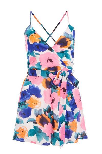 Pink Blue And Orange Floral Wrap Playsuit