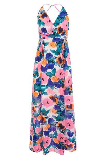 Pink Blue And Orange Chiffon Maxi Dress