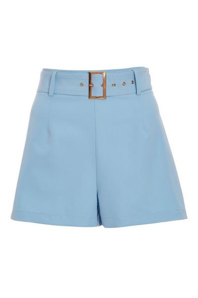Pale Blue Woven Square Buckle Shorts