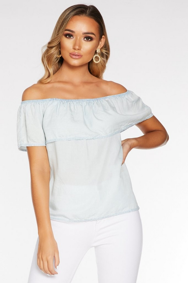 Light Blue Chambray Bardot Frill Top
