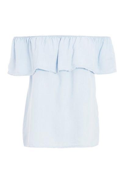 Light Blue Chambray Bardot Frill Top