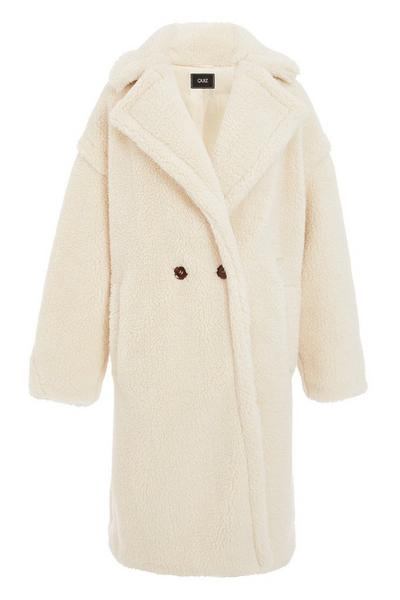 Cream Teddy Bear Faux Fur Long Jacket