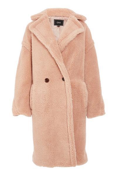Blush Teddy Bear Faux Fur Long Jacket