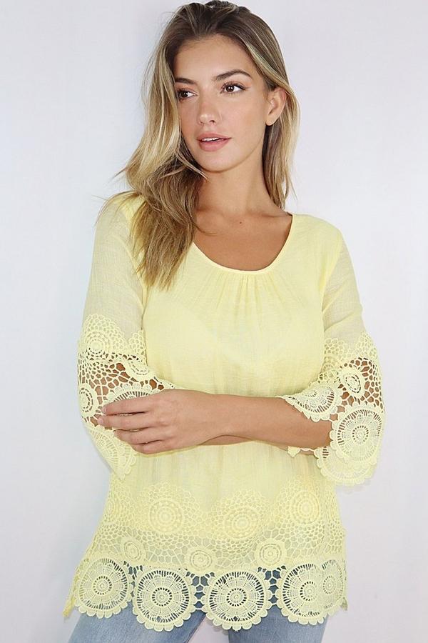 Lemon 3/4 Sleeve Crochet Trim Top