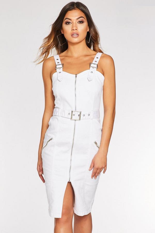 White Denim Zip Front Belted Midi Dress