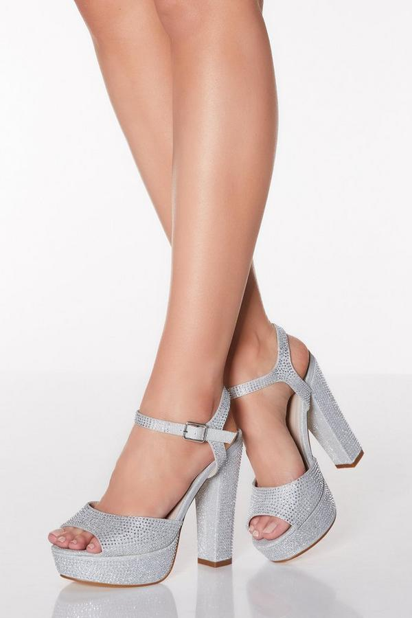 Silver Shimmer Diamante Block Heel Sandals