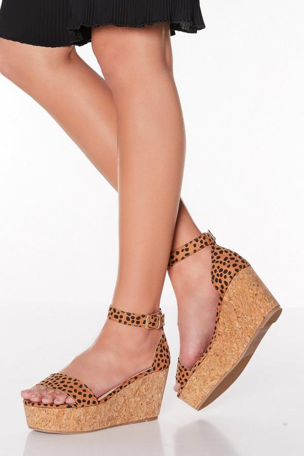 Brown Dalmatian Print Faux Suede Wedges