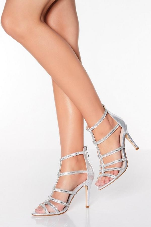 Silver Shimmer Diamante High Heel Sandals