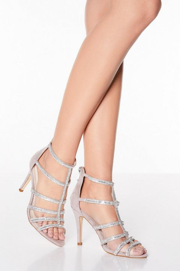 Mauve Shimmer Diamante High Heel Sandals