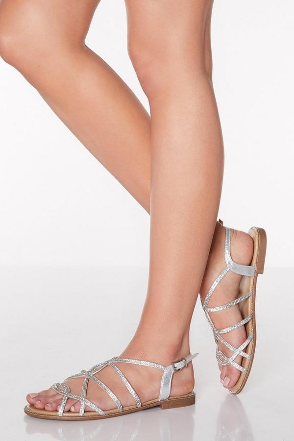 Silver Diamante Strappy Flat Sandals