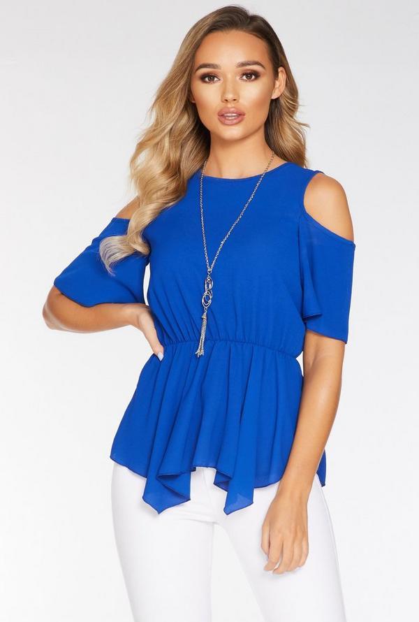 Blue Cold Shoulder Necklace Top