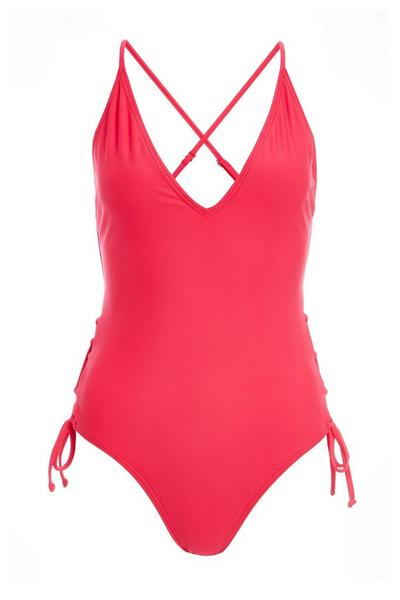Pink V Front Tie Up Swimsuit