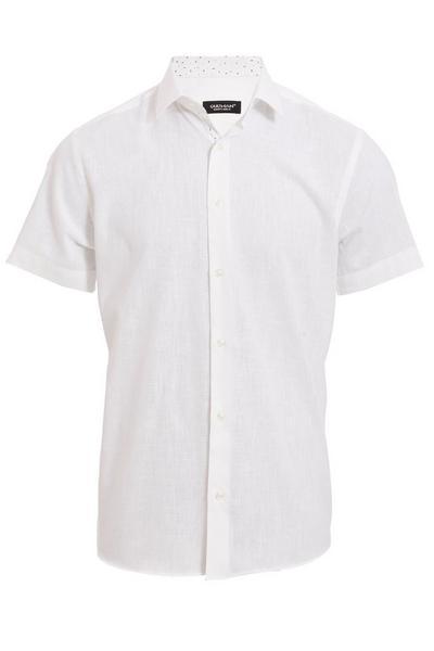 Plain Short Sleeve Linen Shirt in White