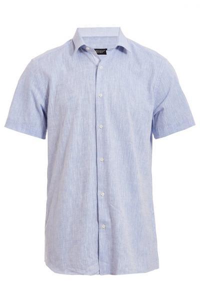 Plain Blue Short Sleeve Linen Shirt