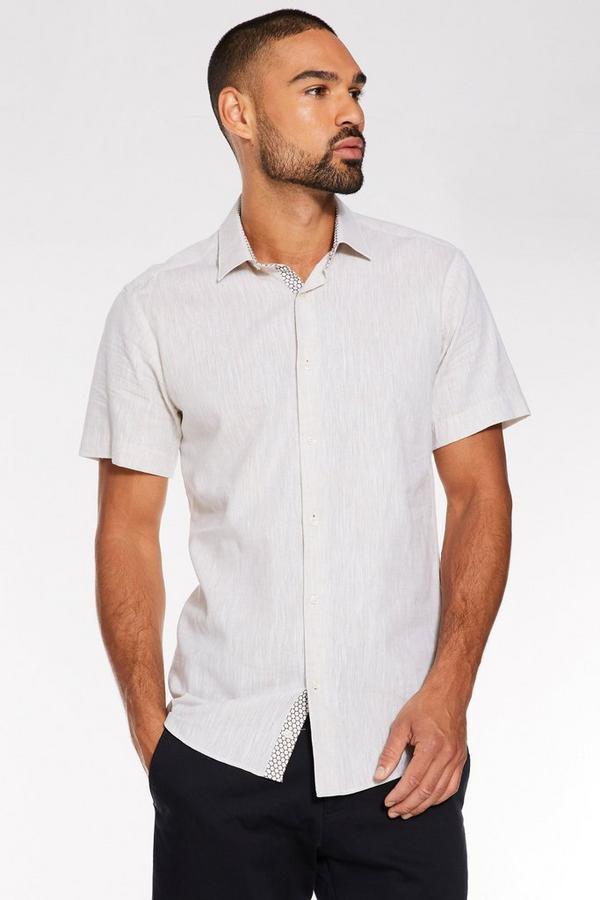 Plain Short Sleeve Linen Shirt in Stone