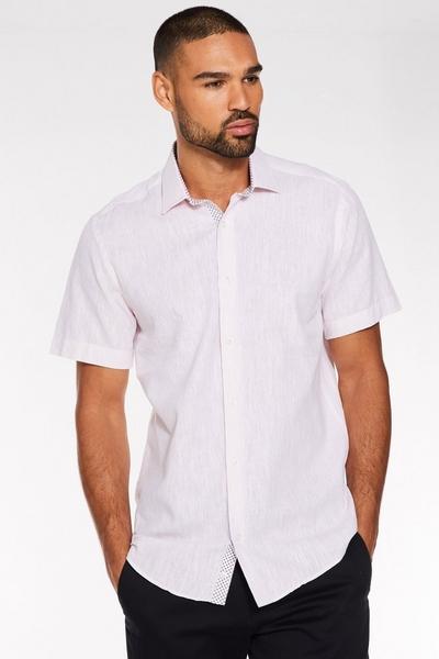 Plain Short Sleeve Linen Shirt in Pink