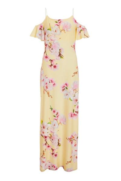 Yellow and Pink Cold Shoulder Maxi Dress
