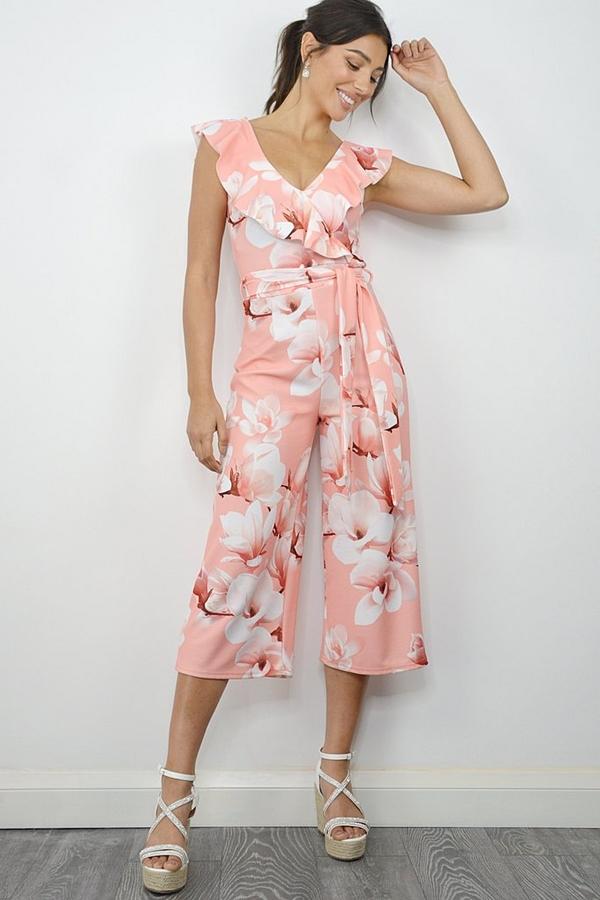 Coral Floral Culotte Jumpsuit