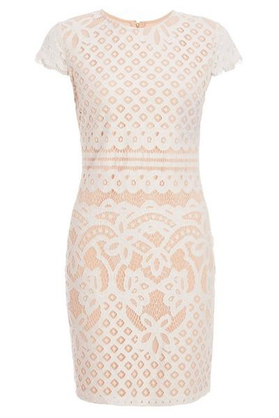 Cream And Nude Lace Cap Sleeve Bodycon Dress