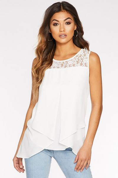 Cream Lace Vest Top