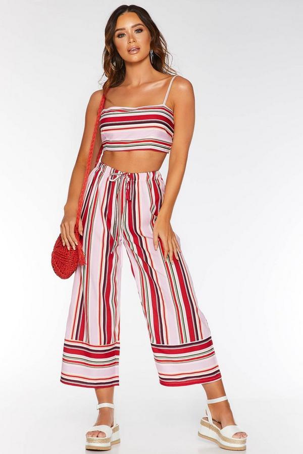 Pink Stripe Beach Culotte Trousers