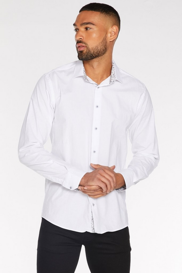 Long Sleeve Plain Shirt in White