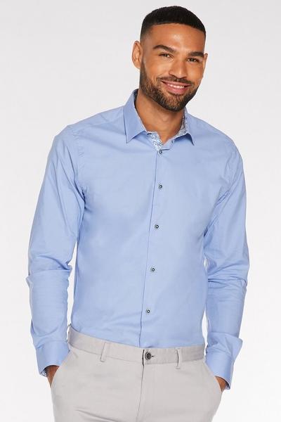 Long Sleeve Plain Shirt in White Powder Blue