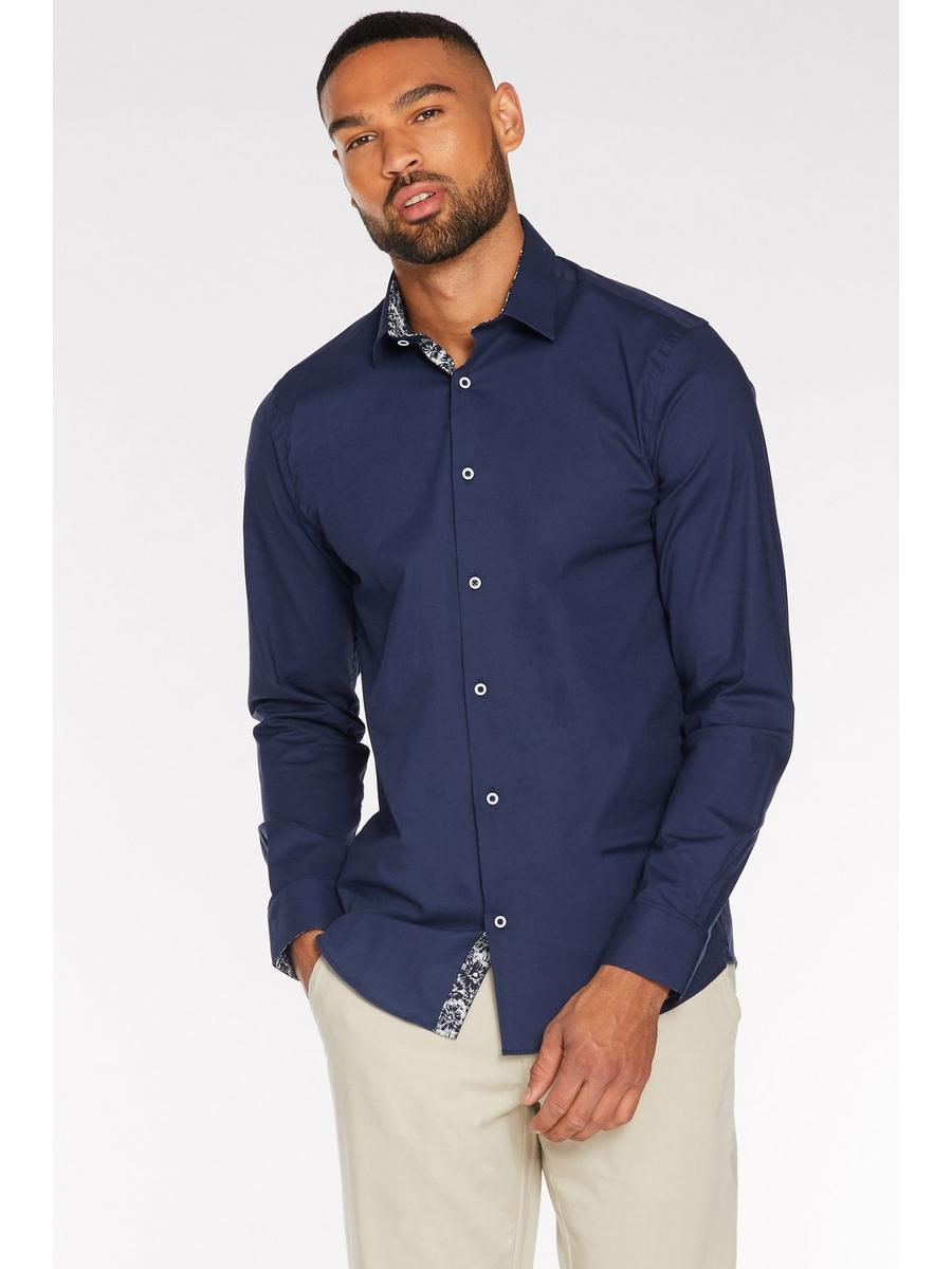 Long Sleeve Plain Shirt in Navy