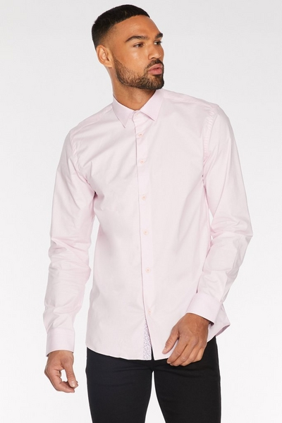 Long Sleeve Plain Shirt in Pink