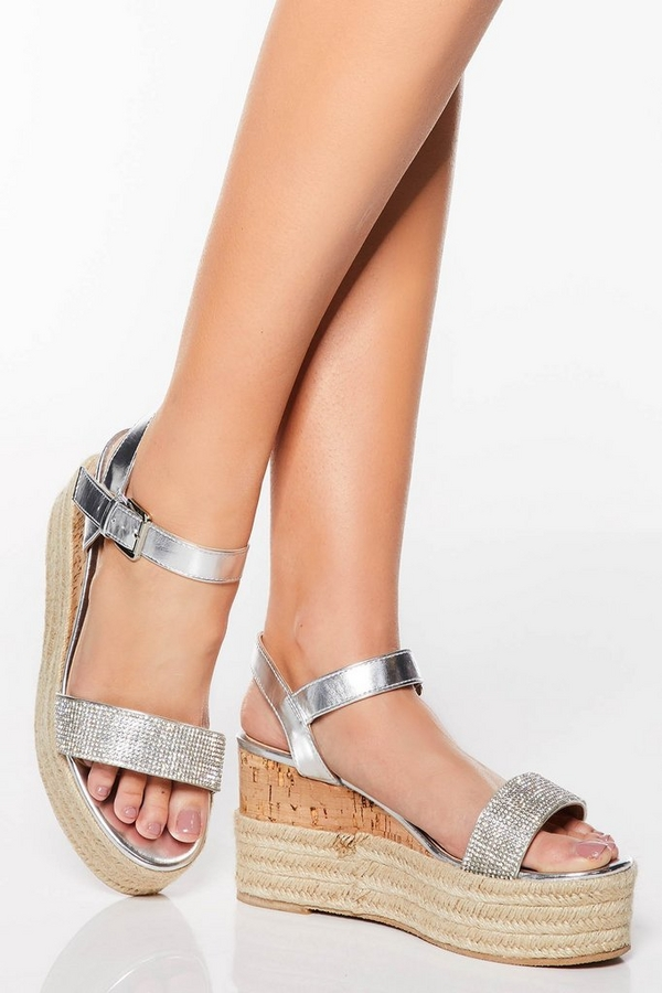 Silver Diamante Espadrille Mid Wedge Sandals