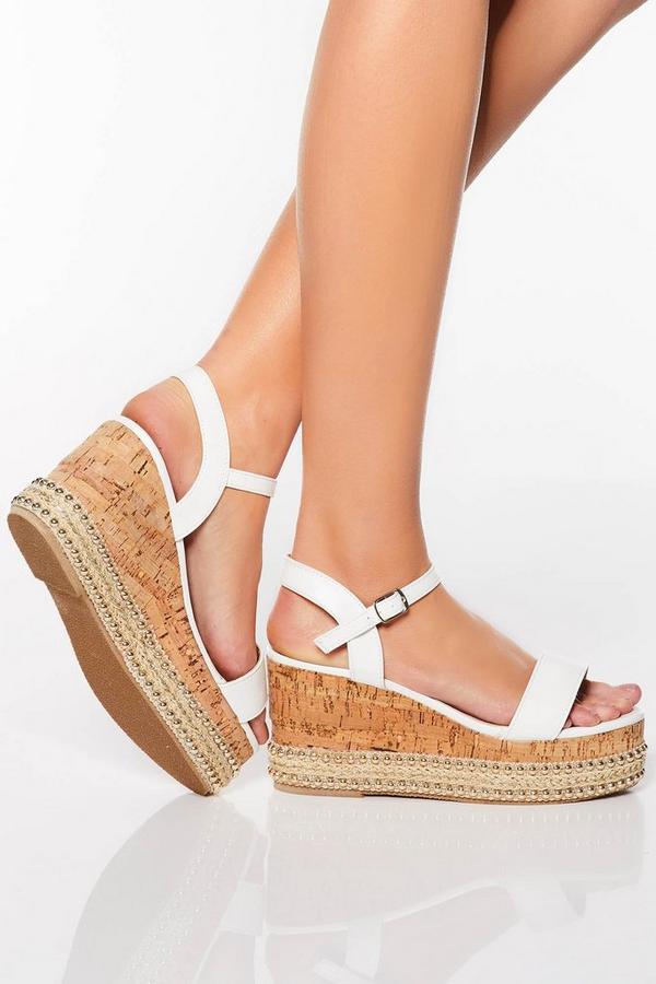 White Stud Trim Wedge Sandals