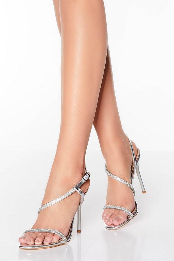 Silver Diamante Asymmetrical Heel Sandals