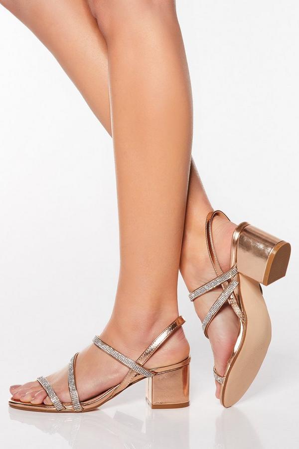 Rose Gold Diamante Block Heel Sandals