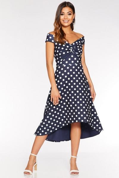 Navy And White Polka Dot Dip Hem Dress