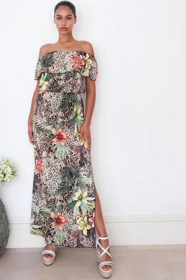 Brown Leopard Print Bardot Maxi Dress