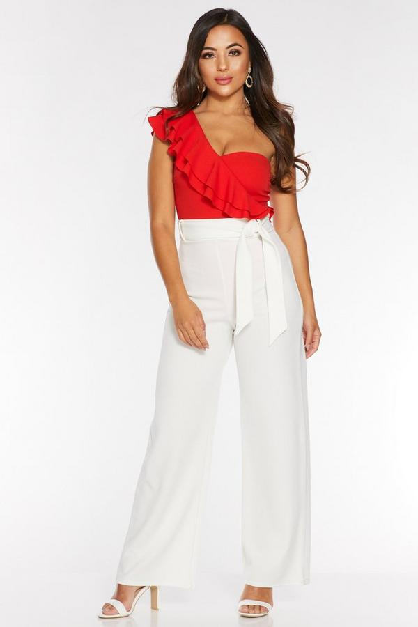 Petite Cream High Waist Tie Belt Palazzo Trousers