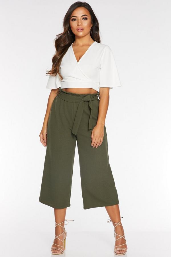 Petite Khaki Paper Bag Culotte Trousers