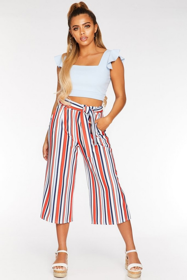 Petite White Red and Blue Stripe Culotte Trousers