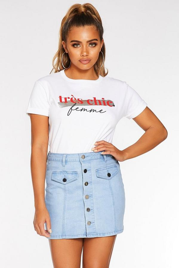 Petite Light Blue Denim Button Mini Skirt