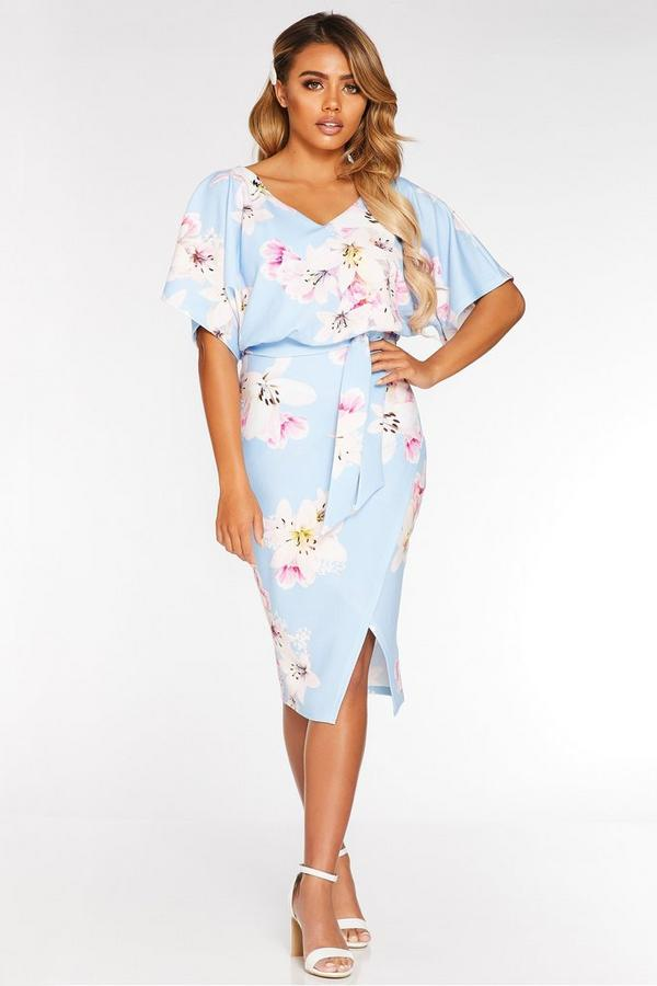 Petite Light Blue Batwing Belted Midi Dress
