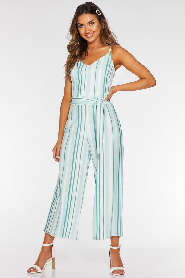 Mint And Cream Stripe Strappy Culotte Jumpsuit