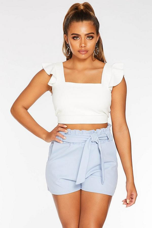 Petite Light Blue Paper Bag Shorts