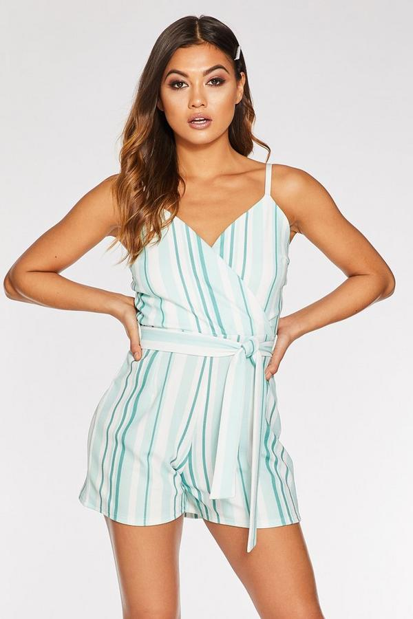 Mint And Cream Stripe Playsuit