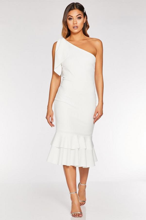 Cream One Shoulder Frill Hem Midi Dress